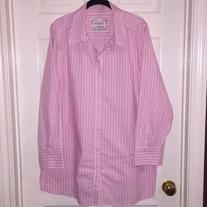 Avenue. Soft Pink and White Stripped Button Down